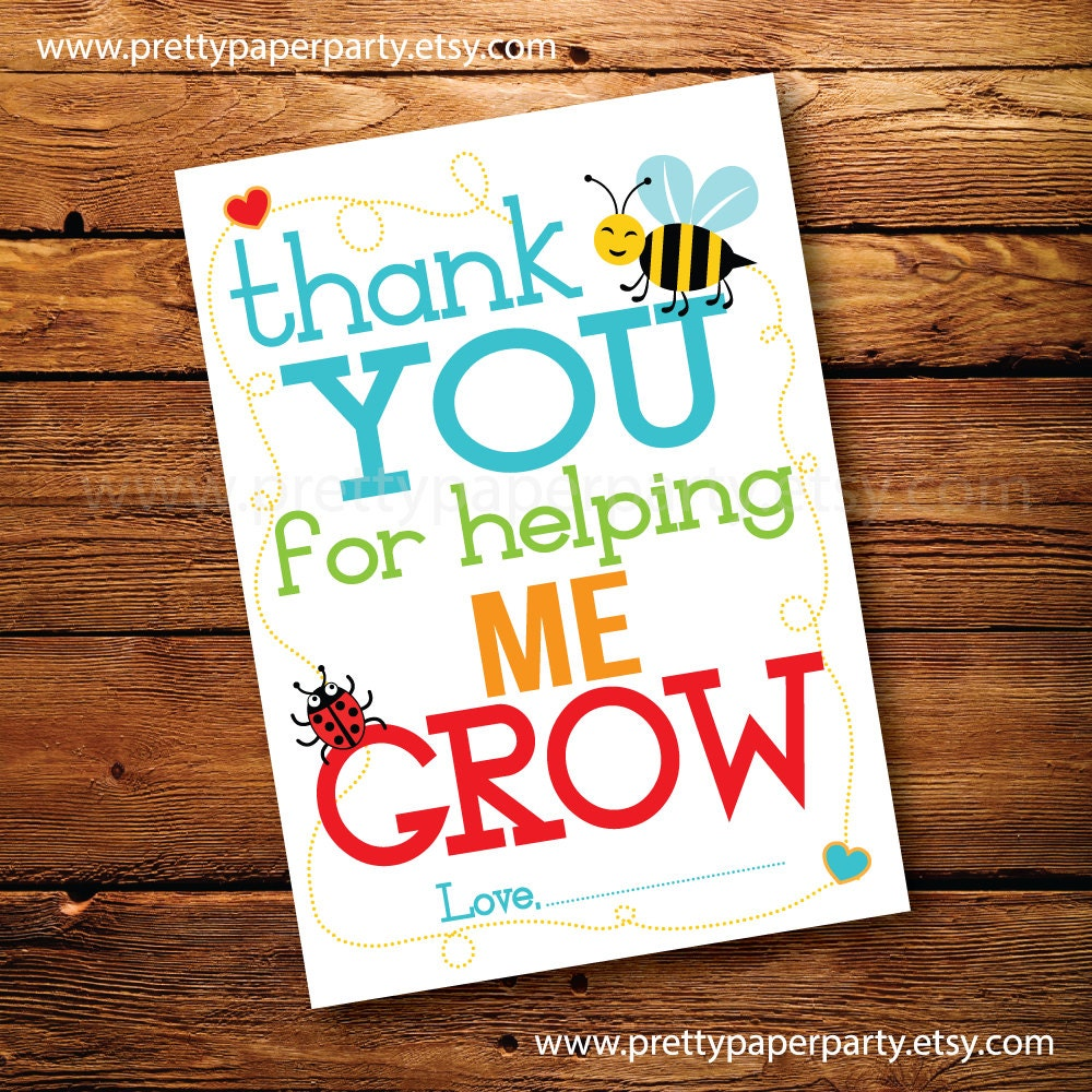 It's just a picture of Unusual Thank You for Helping Us Grow Printable