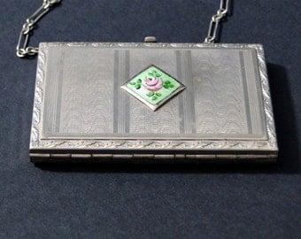 Vintage Silver Wristlet Bag 1930s Guilloche Enamel Dance Handbag  / Compact Powder Coin Purse Flapper / Wedding Accessories Gift 1930s