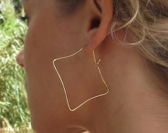 Unique Hoop Earrings. Square Gold Earrings. Earthy Organic Hoops. 14k Gold Filled Royal Jewelry. Delicate Jewelry. Square Hoops. Geometric