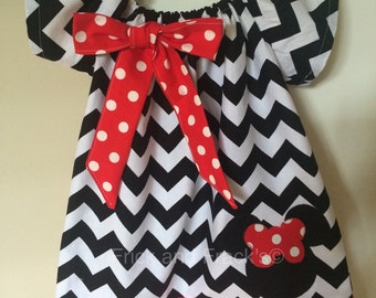Black and White Chevron Mouse Peasant Dress with Red and white Polka Dot Accents
