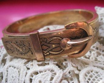 Antique Buckle Bracelet , Bangle Bracelet , Gold Fill Bangle , Enameled  , Antique Bangles , Buckle Jewelry , Estate Jewelry , Symbolic