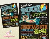Boy Pool Party Invitation | Printable Birthday Invite Chalkboard | Under the Sea Invite | Blue Orange Green | Swimming Pool Invitations