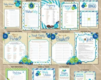 Cute as a Button Shower Games | Baby Boy Shower Theme | Printable Game | Blue Green | ONE GAME You Choose | Invitation & Decor Available