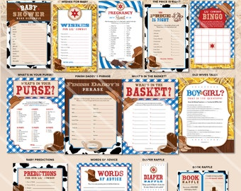 Cowboy Baby Shower Games | Western Theme | Boy Baby Shower Printable | Blue  Red |