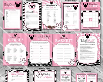 Minnie Mouse Baby Shower Games, Minnie Mouse Games for Girl Baby Shower Games Printable, Baby Shower Games Girl