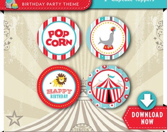 Circus Cupcake Toppers | Printable Circles | Party Decorations | Cake Decor | Instant Download