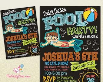 Boy Pool Party Invitation   Printable Birthday Invite Chalkboard   Under the Sea Invite   Blue Orange Green   Swimming Pool Invitations