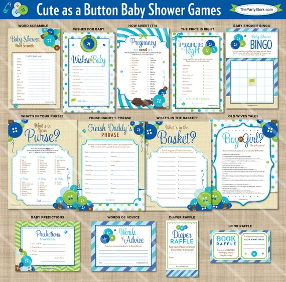 cute as a button shower games baby boy shower theme printable game