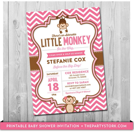 Pink monkey baby shower invitation unique printable diy invite for il570xn filmwisefo