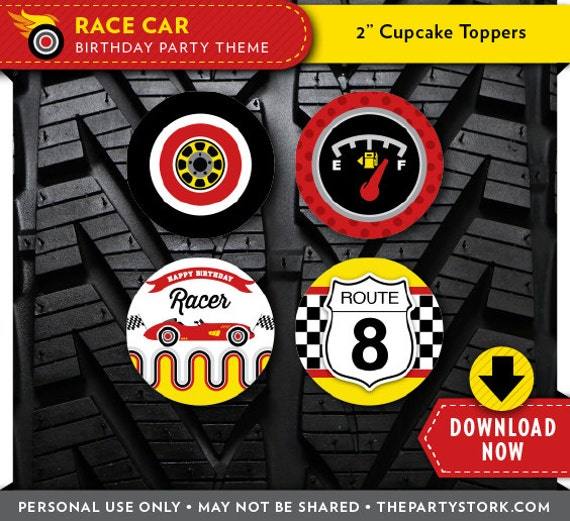 Race Car Cupcake Toppers Printable Circles Party Decorations