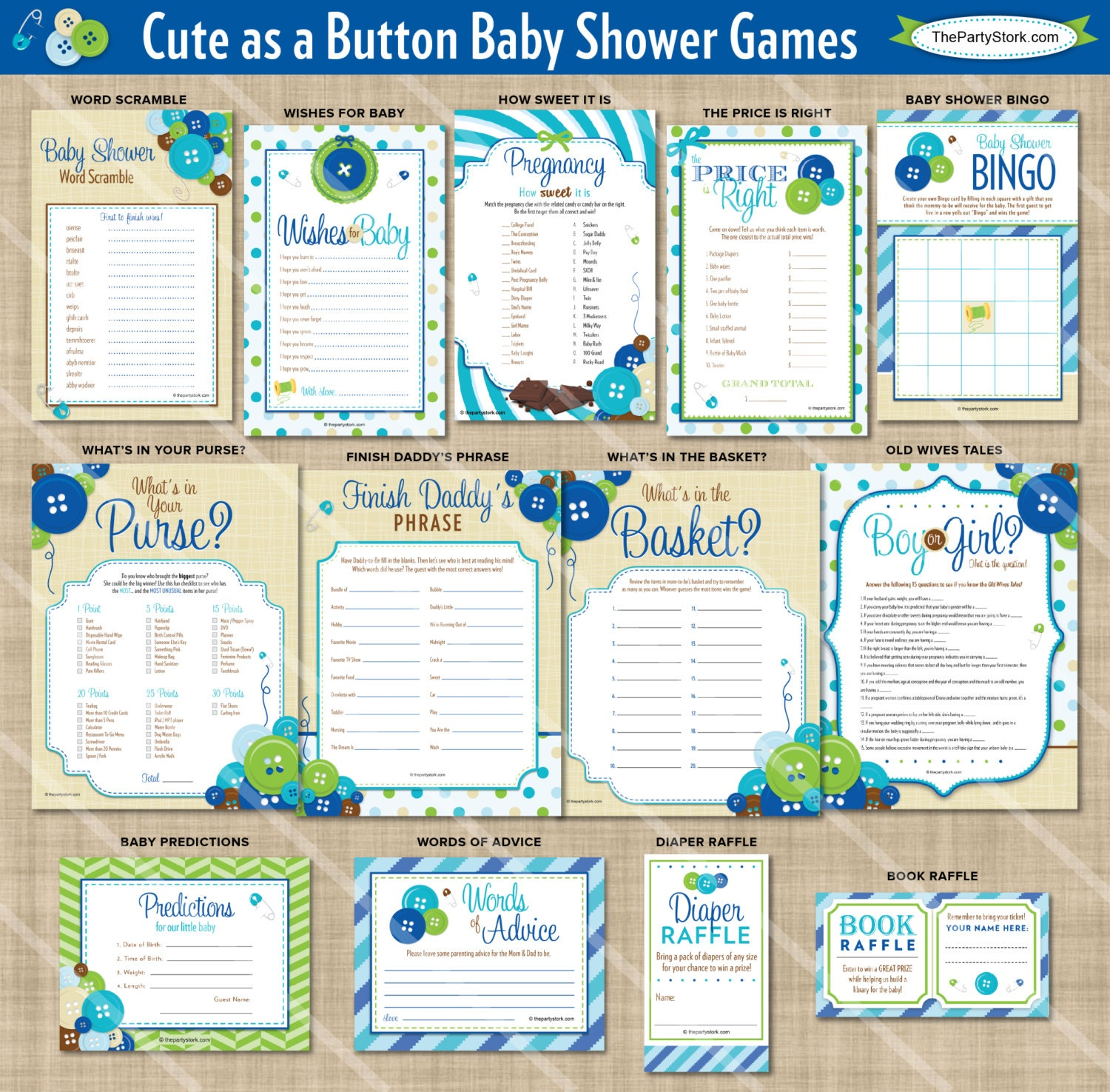 cute as a button shower games baby boy shower theme