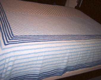 Vintage Chenille Two Tone Blue on Blue Bedspread/Blanket Cutter