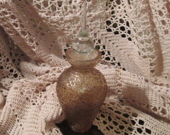 Vintage Gold Flecked Glass Perfume Bottle with Tear Drop Stopper