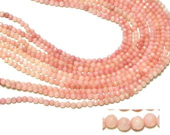 "GU-0527-1 - Light Pink Jade Faceted Rounds - 4mm - Gemstone Beads - 16"" Full Strand"