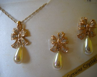 Vintage Wedding Jewelry , Crystal and Pearl Earrings and Pendant, Signed Roman Necklace Set, Crystal Bow Necklace and Earrings