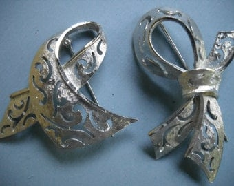 Vintage BSK Silver Brooch, 2 BSK Silver Brooches/Pins, Bow and Ribbon Silver Brooches, Cutwork Silver Pin, BSK Jewelry