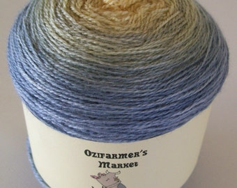 Silky Merino Lace - Gradient dyed merino and silk laceweight yarn.  Mischka