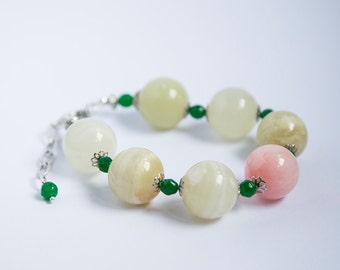 Large bold stone bracelet, huge 20mm round yellow agate. soft pink jade, adjustable extender chain, beautiful pastel colored large stones