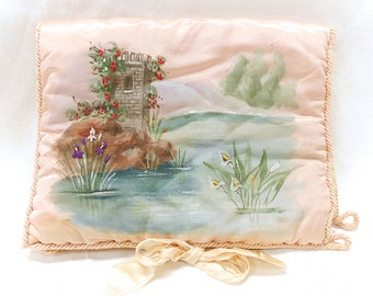 French Antique Hand Painted and Embroidered Blush Pink Silk Floral Quilted Handkerchief / Lingerie Case Folder (B166)