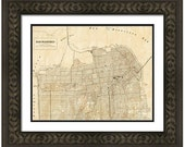 MAP of SAN Francisco California in a Vintage Grunge Weathered Antique style