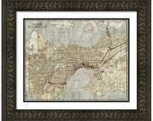 MAP of SEATTLE Washington 2 in a Vintage Grunge Weathered Antique style