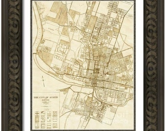 MAP of AUSTIN 2 Texas in a Vintage Grunge Weathered Antique style