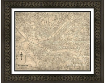 MAP of PITTSBURGH Pennsylvania in a Vintage Grunge Weathered Antique style