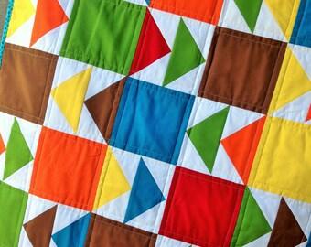 Arrow Baby Quilt Modern Nursery Toddler Blanket Free Shipping Ready to Ship Geometric Crib Bedding Red Orange Yellow Green Blue Arrows