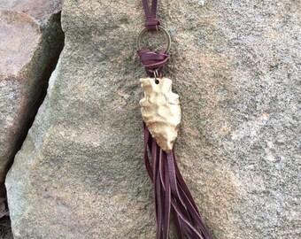 ARROWHEAD fringe leather lariat necklace