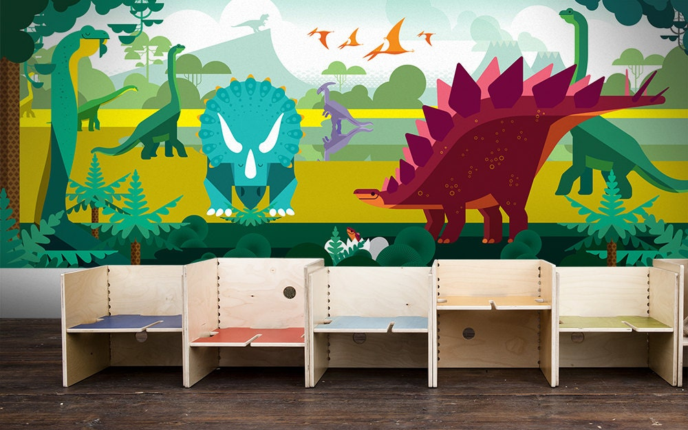 Panoramic kids wallpaper mural dinosaurs and jurassic world for Children s mural wallpaper