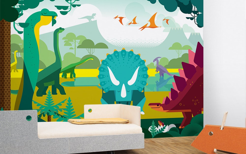 Large kids wallpaper mural dinosaurs and jurassic world for Children s mural wallpaper