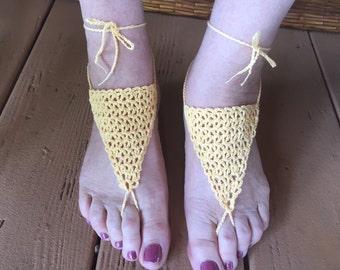 Sandals, Barefoot Sandals, Womens Light Yellow Crochet Barefoot Sandals Style 6