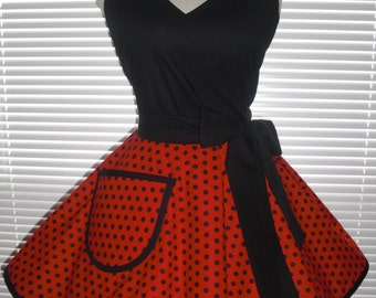 Retro Pinup Style Apron Flirty Circular Skirt Black Dots On Bright Red