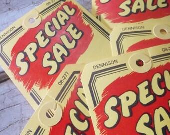"1960s Heavy Vintage Industrial Tags, Paper Tags, Sale Tags, Dennison, 6"", Vintage New, 6 Pcs, Heavy Paper Grommet, Office Supplies, Props"