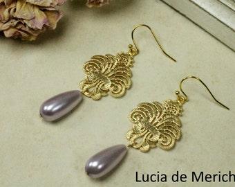 Ethnic Style Earrings - Boho Chic - Oriental Filigree  Earrings - Glass pearl teradrop Pendant -Chandelier Earrings- Wedding Earring