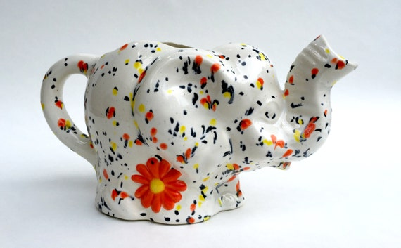 Elephant Creamer Watering Can Ceramic Orange Small