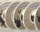 Custom Baby Closet Dividers Organizers Beige Tan with Grey Deer Silhouettes Arrows and Grey Font/Frame Tribal CD740 Boy Girl Nursery Shower