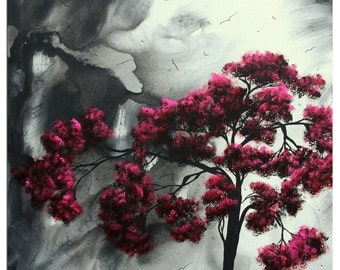 Contemporary Tree Art 'Pink Passion' Black White Pink Abstract Landscape Artwork, Modern Tree Painting Metal Giclée - Megan Duncanson