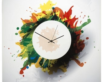 Colorful Wall Clock 'Splatter Clock' 22x22in. - Bright Colors Artwork, Modern Home Wall Decor - Unique Contemporary Metal Artistic Clock