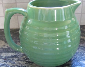 Vintage Green Over and Back Yellow Ware Pitcher