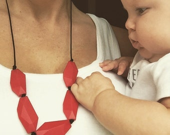 Cherry red gem teething necklace