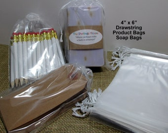 Drawstring Bags, 50 Clear 4x6 Drawstring Bags, Product Bags, Soap Bags, Drawstring 2 Mil Poly Product Bags