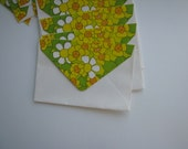 Yellow Daisey 70s Floral Envelopes - yellow and green -  Set of 8 - Vintage Envelopes and stationery - letter writing - corespondence