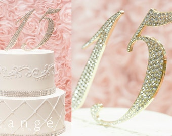 Artistic 0-9 Gold Rhinestone NUMBER CAKE TOPPER 1 15 16 18  21 30 40 50 70 for Birthday, Anniversary, Quinceanera and Sweet Sixteent