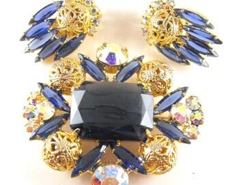 Juliana Jewelry Brooch Earring Set Montana Blues Filigree Beads Verified Genuine DeLizza and Elster Design Demi Parure