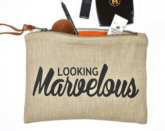 Looking Marvelous - Make- Up Case, Cosmetic Case, All Purpose Clutch - Wheat / Black Combo