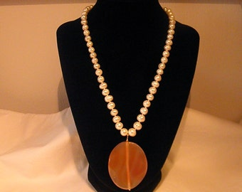 White Freshwater Pearl necklace with lovely Orange Sherbet Agate Pendant