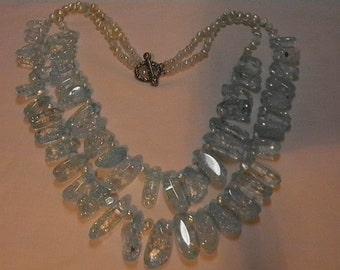 Aqua Crystal Quartz and Pearl Necklace