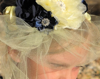 Vintage tulle flower girl headpiece, yellow and navy flower girl headpiece, Flower girl head band,Jewel and pearl flower headpiece.