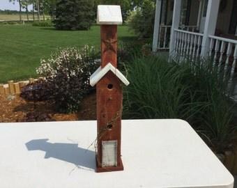 Tall Duplex Cedar Birdhouse